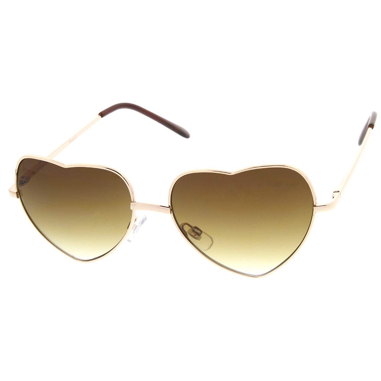 5754420141 Get Quotations · zeroUV - Womens Fashion Thin Metal Cute Heart Shaped  Sunglasses