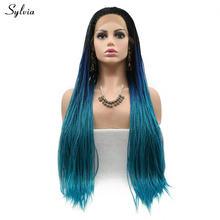 Sylvia синтетический парик на кружеве, длинные волосы, черные корни, Омбре, синий, коричневый, желтый, блондин, парики на кружеве, плетеная короб...(Китай)