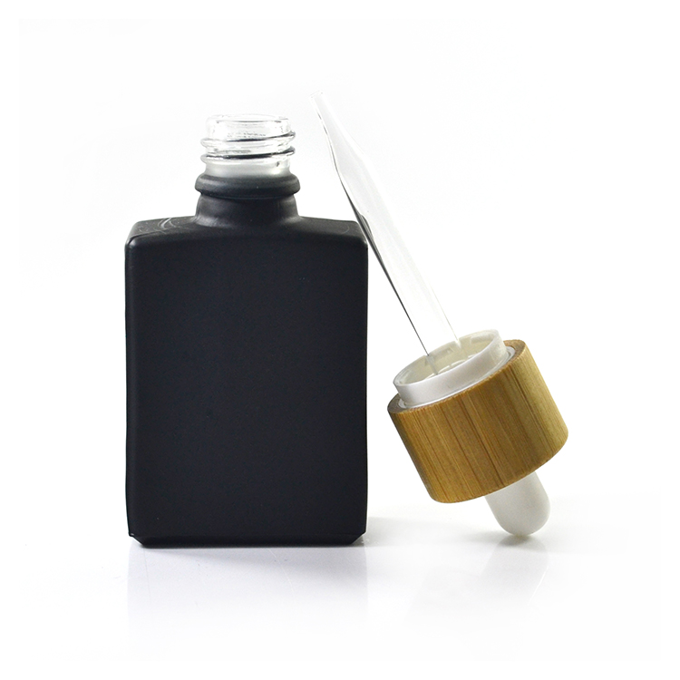 Natural Eco Cosmetic Container 30ml 1 oz matte black Rectangular frosted glass dropper bottle with bamboo cap