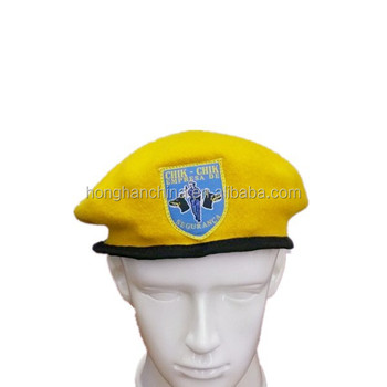 High Quality Police Yellow Military Beret Hat With Woven Label - Buy ... 379eaea1c14