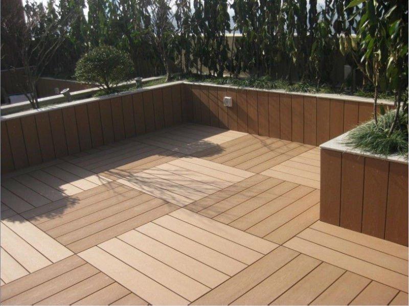300x300mm Fireproof Diy Tile Interlocking Composite Deck Tiles Wpc