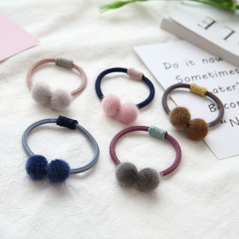 Wholesale decorative ponytail holders pom pom elastic kids hair ties C-hb324