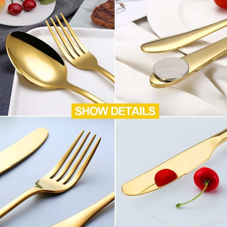Amazon Hot Sell Stainless Steel Gold Plated Custom Cutlery Wholesale