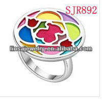 Top Fashion Colorful Cute Bear Dome Stainless Steel Jewelry Ring