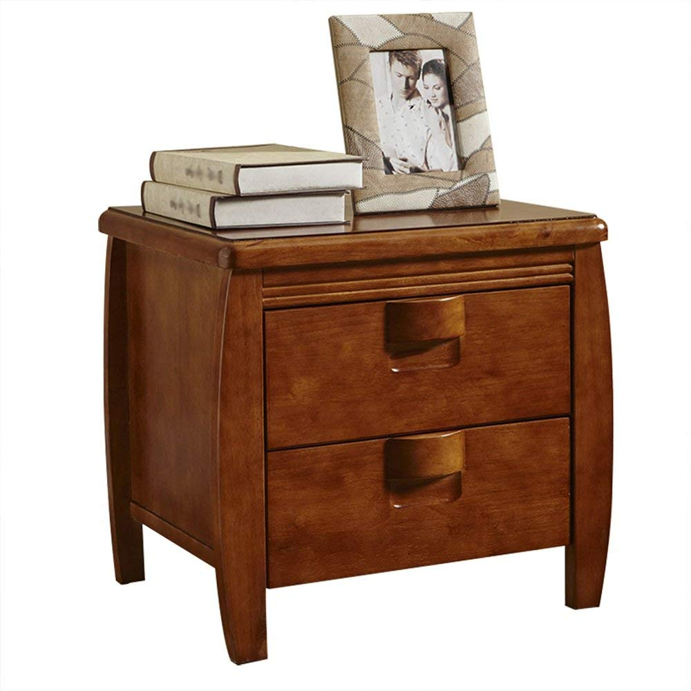 Lt Nightstand Bedroom Furniture Solid Wood Rubber Storage Cabinets Two Drawers Bedside