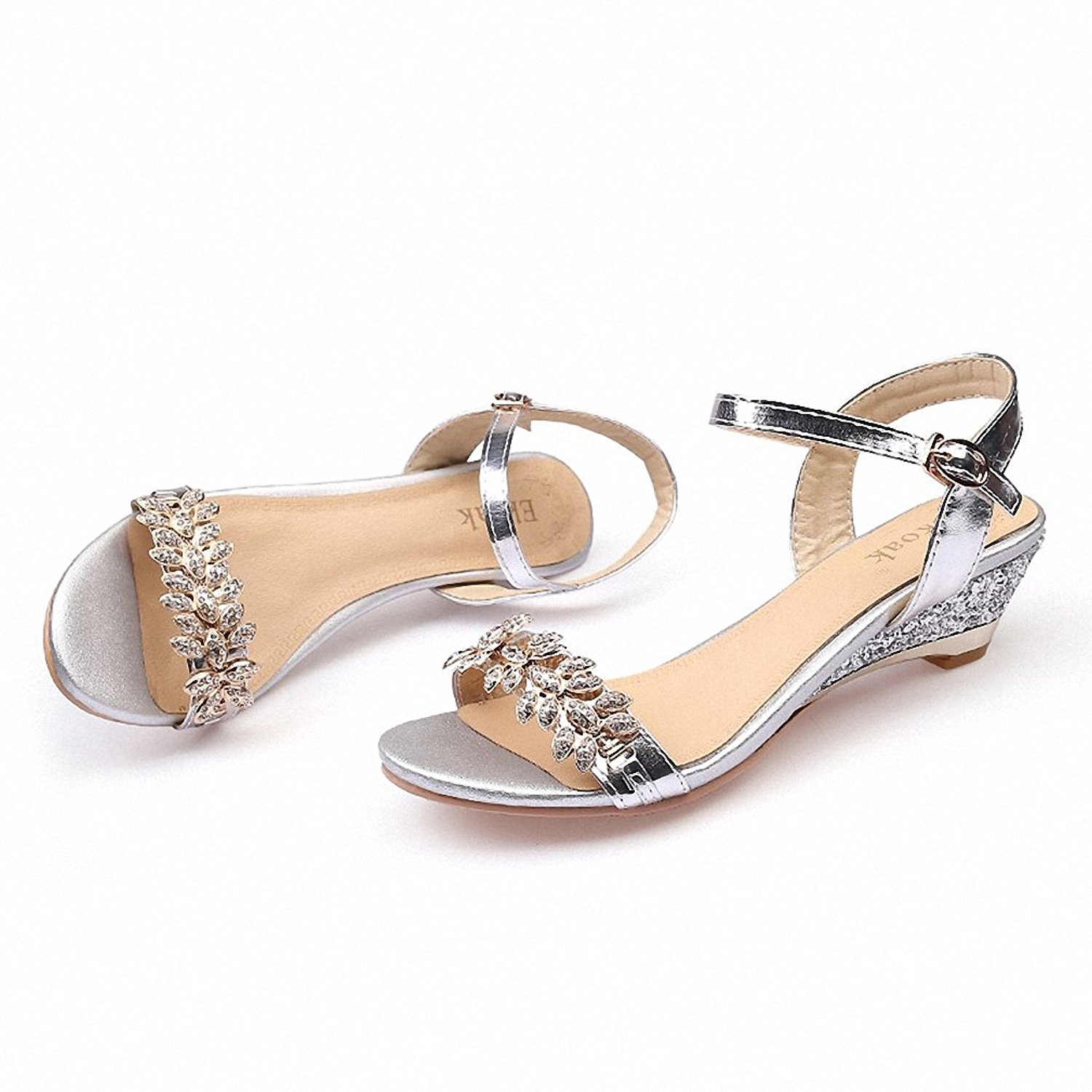 Women Sandals Sexy Crystal Bling Medium Heels Shoes Woman Wedges Sandals Party Dress Shoes