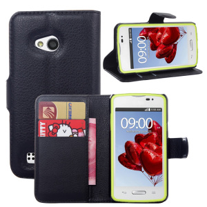 Litchi PU Card Holder Wallet Flip Leather Case For LG L50 D213N