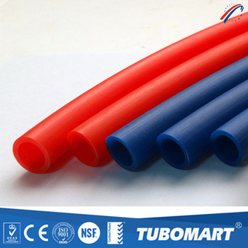 Tubomart red blue pex pipes of pex material water plumbing for Plastic water pipe pex
