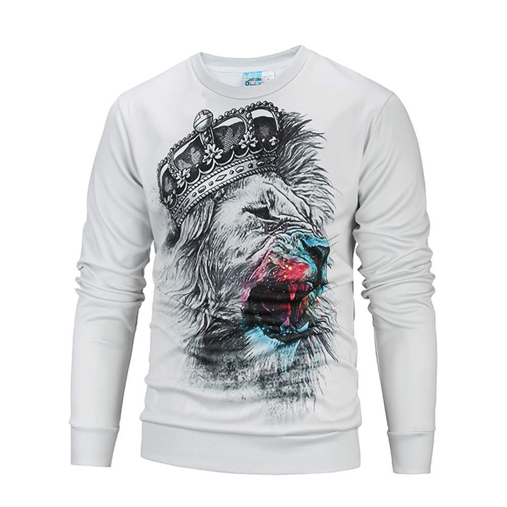 fbec49494b41 Get Quotations · WYTong Hot Sale! Mens Casual Sweatshirt 3D Graphic Print  Outerwear Top Long Sleeve Lion Print
