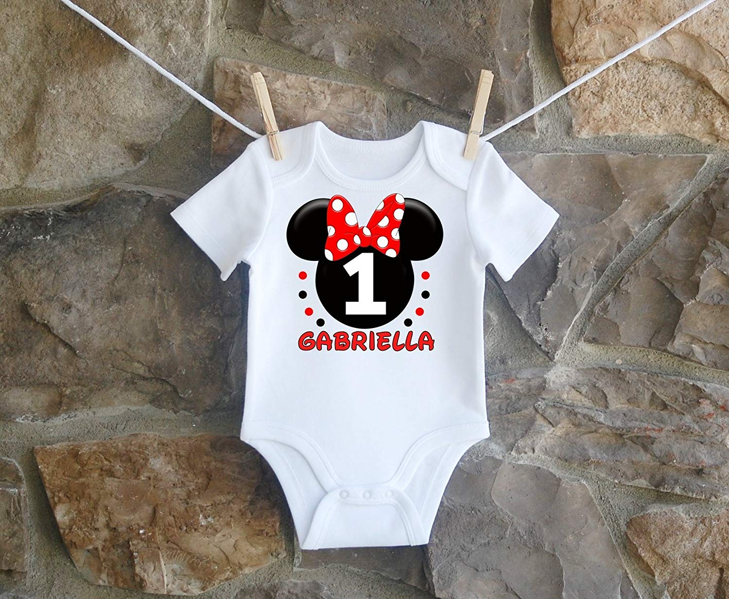 0ddee70fc Get Quotations · Minnie Mouse Birthday Shirt, Minnie Mouse Birthday Shirt  For Girls, Personalized Girls Red Black