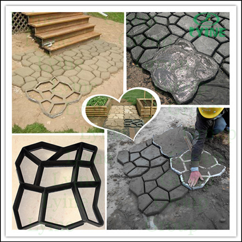 Lyine Plastic Concrete Stepping Stone Molding Patio Stamping Paver Pathway  Moulds DIY Garden Tools Paver
