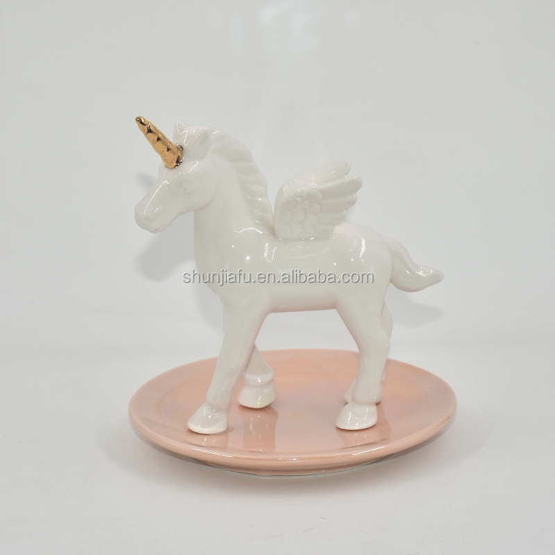 Lovely Unicorn Stylish Design Ceramic Trinkets Tray Necklace Earrings Rings Stand Display