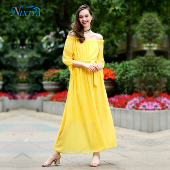 58d1b9c0b6a3 Pearl Chiffon One Piece Strapless Woman Yellow 7 Point Sleeve Dress Simple  Style Loose Plus Size