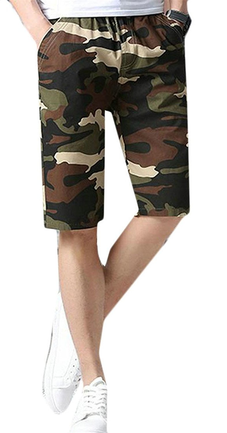HTOOHTOOH Mens Hot Shorts Outdoor Capri Multi Pockets Cargo Shorts