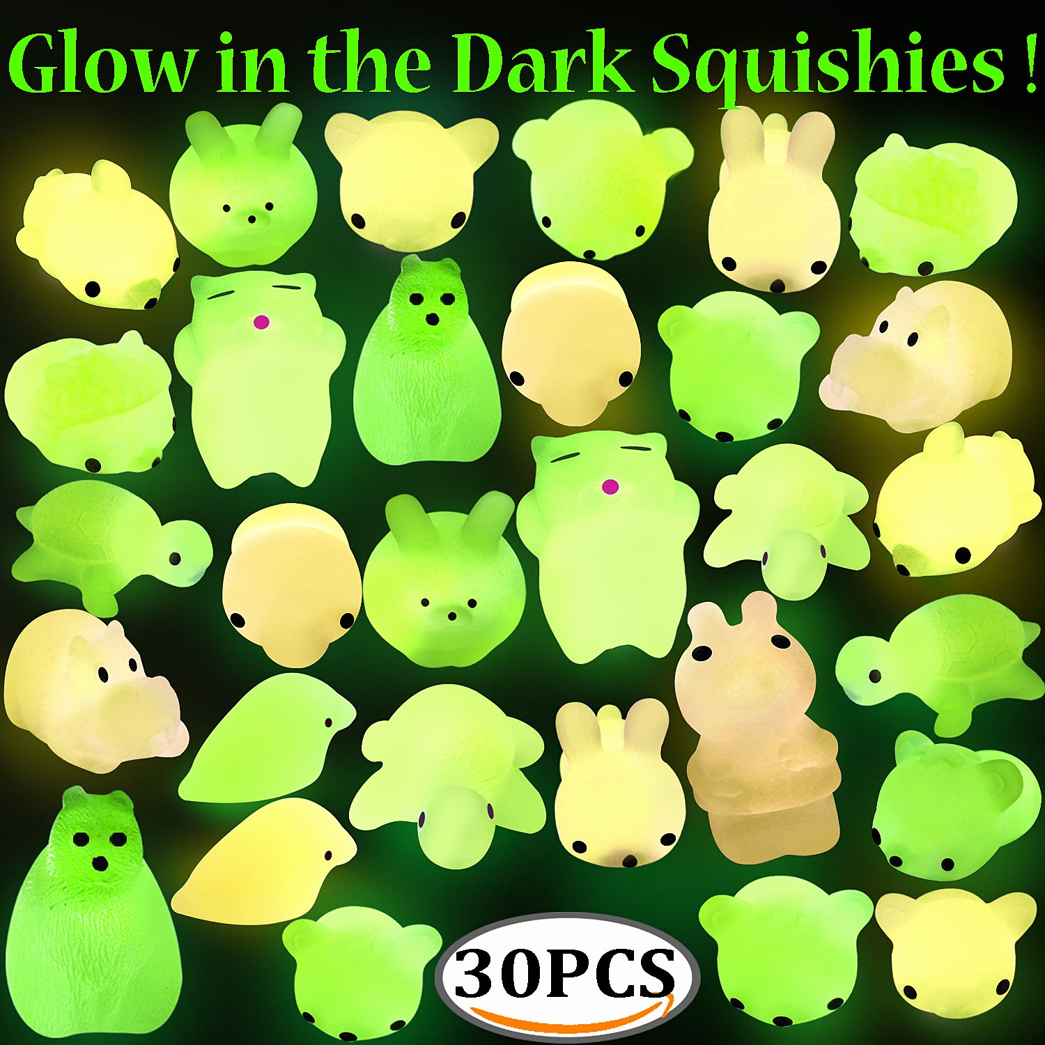 Squishy Mochi Animals, Outee 30 Pcs Glow in the Dark Squishy Mochi Animal Stress Toys Squeeze Mochi Squishy Toys Soft Squishy Stress Relief Toys Squishy Squeeze