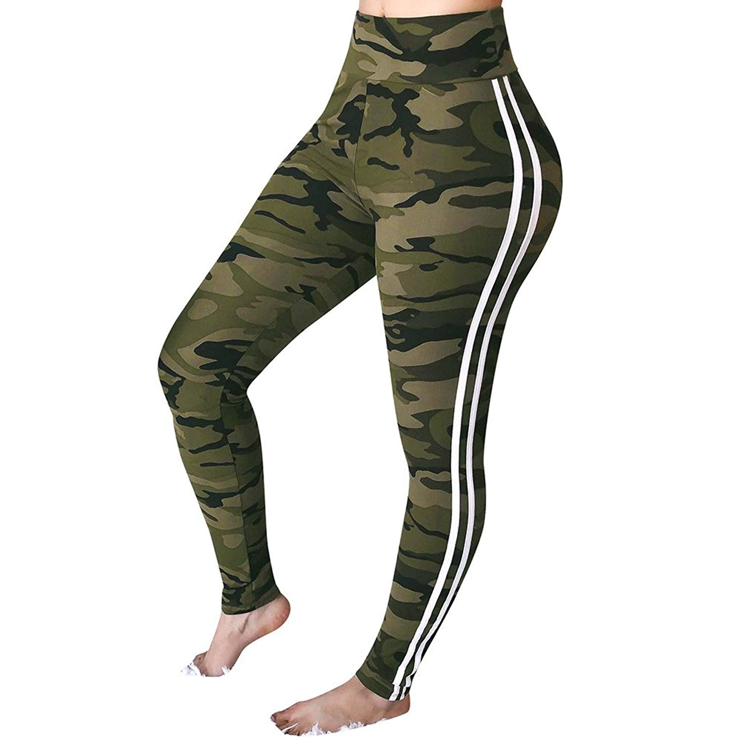 f7b043c9985c Get Quotations · FarJing Yoga Pants for Womens,Clearance Sale Womens Mid  Waist Camouflage Striped Trousers Ladies Casual