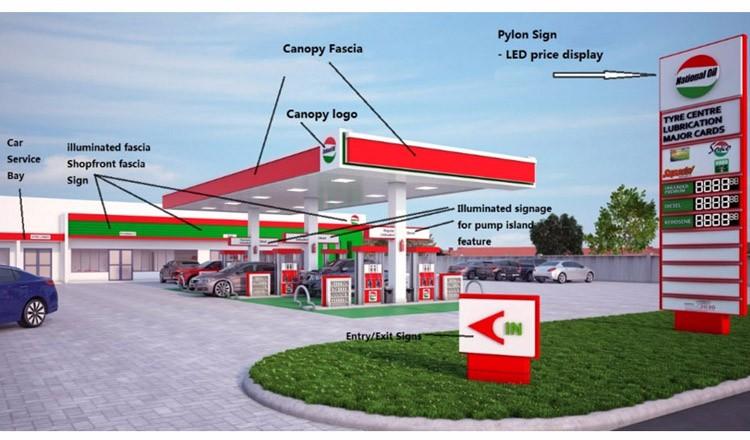 Pylon Sign - LED price display. Canopy Fascia & Petrol Station Gas Station Filling Station Signage Canopy Fascia ...