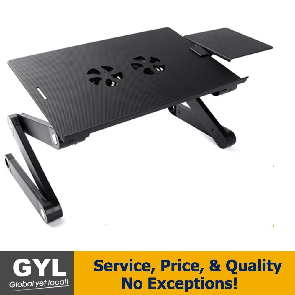 Executive Office Solutions Portable Adjustable Aluminum Laptop Desk/Stand/Table Vented w/CPU Fans Mouse Pad Side Mount-Notebook