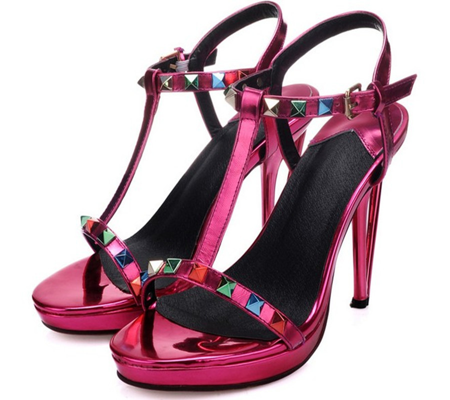 Women Genuine Leather Open Toe High Heels Fashion Color Rivets Buckle Strap Sandals Comfotable Platform Ladies Catwalk Red Shoes