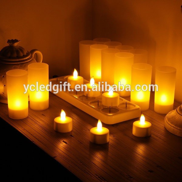 12 Led Flickering Rechargeable Tea Lights Candle Set Wax