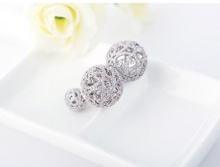 LUOTEEMI Wholesale Women Luxury Full Shiny Cubic Zircon Diamond Vintage Double Sides Hollow Crystal Ball Stud Earrings