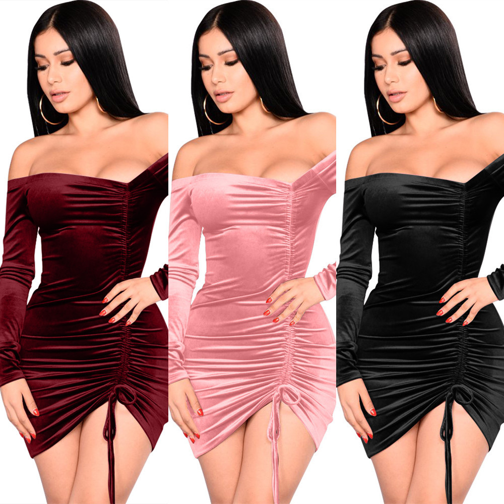 5 color Amazon new sexy drawstring pleated collar dress Europe and the United States nightclub fashion long-sleeved dress skirt
