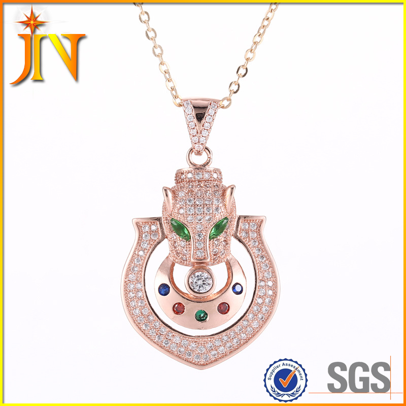 XL0264 JN gold plated micro pave CZ multi gem cat necklace african 8 gram gold necklace designs