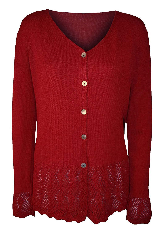 Rimi Hanger Womens Long Sleeve Knitted Button Cardigan Top Ladies Fancy Crochet Sweater M/XXL
