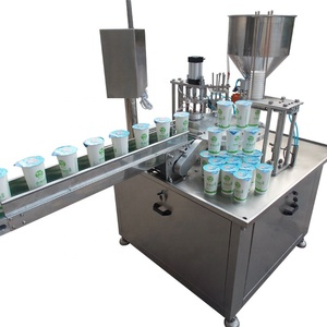 Rotary Liquid Filling Sealing Machine with Milk Yogurt Juice and Small Machines Filling Cup for Sale