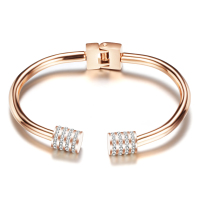 Fashion Bangles Jewelry Rose Gold Color 316L Stainless Steel Austrian Crystal Rhinestone Round Cuff Bangle Female Jewelry