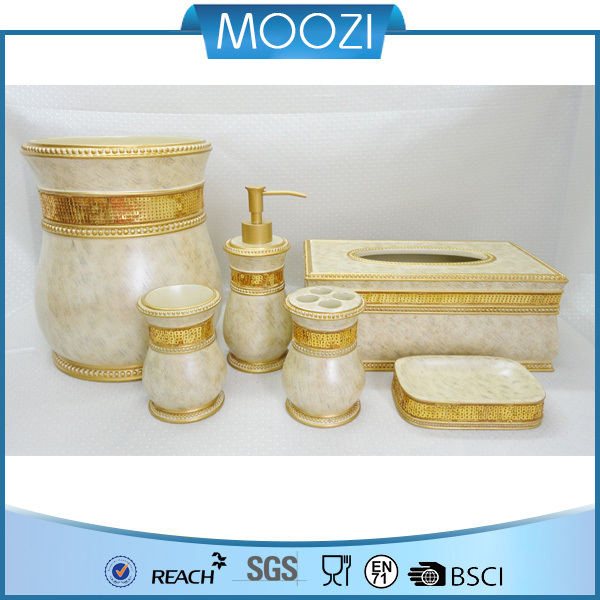 Elegant And Luxury Poly Gold Bathroom Accessories Set High-end ...