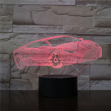 Carro esporte 3d ilusão led table lamp LED night light com interruptor de toque base para caçoa o presente