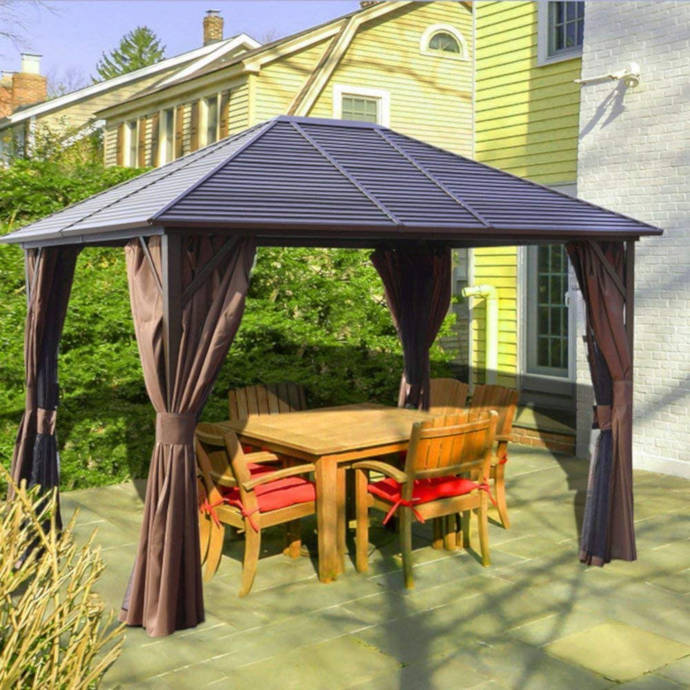 AMGS Hot Tub Gazebo Hard Top Canopy 10x12 BBQ Grill Cover Set Patio Backyard Garden Heavy Duty Top Galvanized Steel Frame PBV-coated Polyester Mosquito Netting Outdoor & e-book by Amglobalsupplies