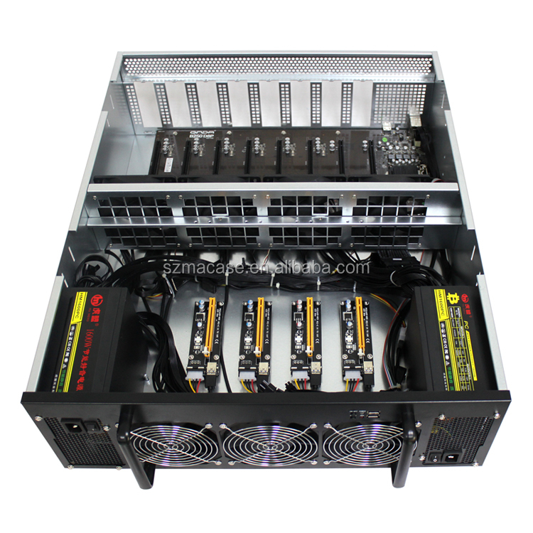 Ethereum Mining Barebone System Case Rig 4U Machine with 8GPU B250 D8P MB PSU 1650W  HDD RAM