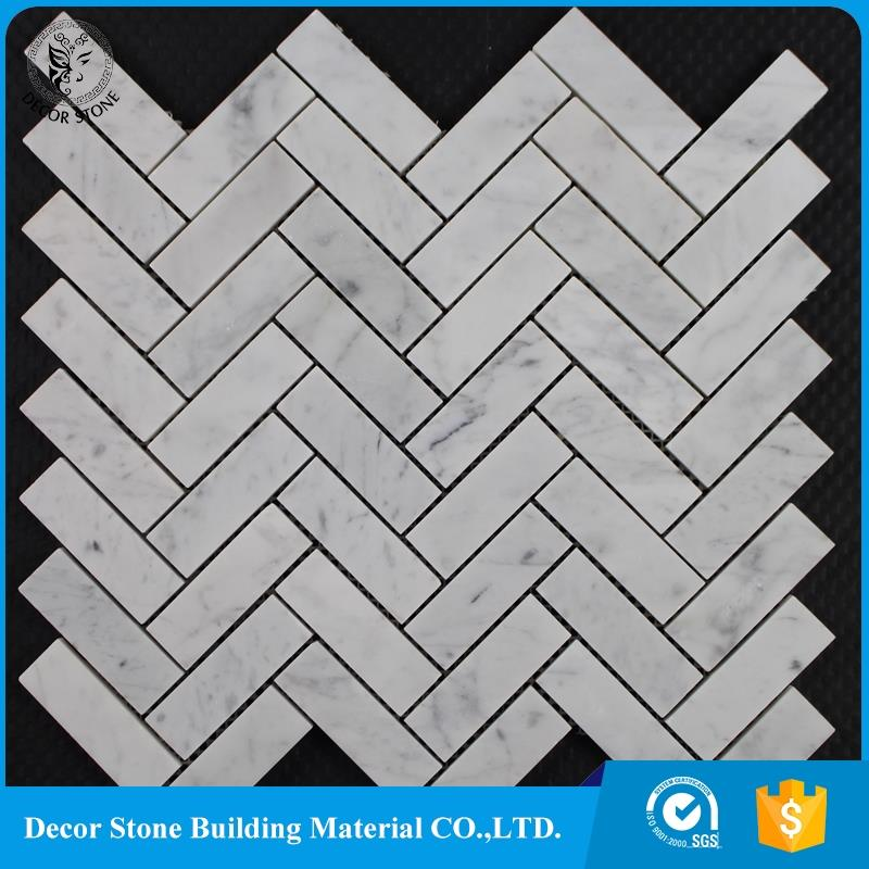 Mosaic 1''x2'' matte herringbone white mosaic wall tile for office floor backsplash