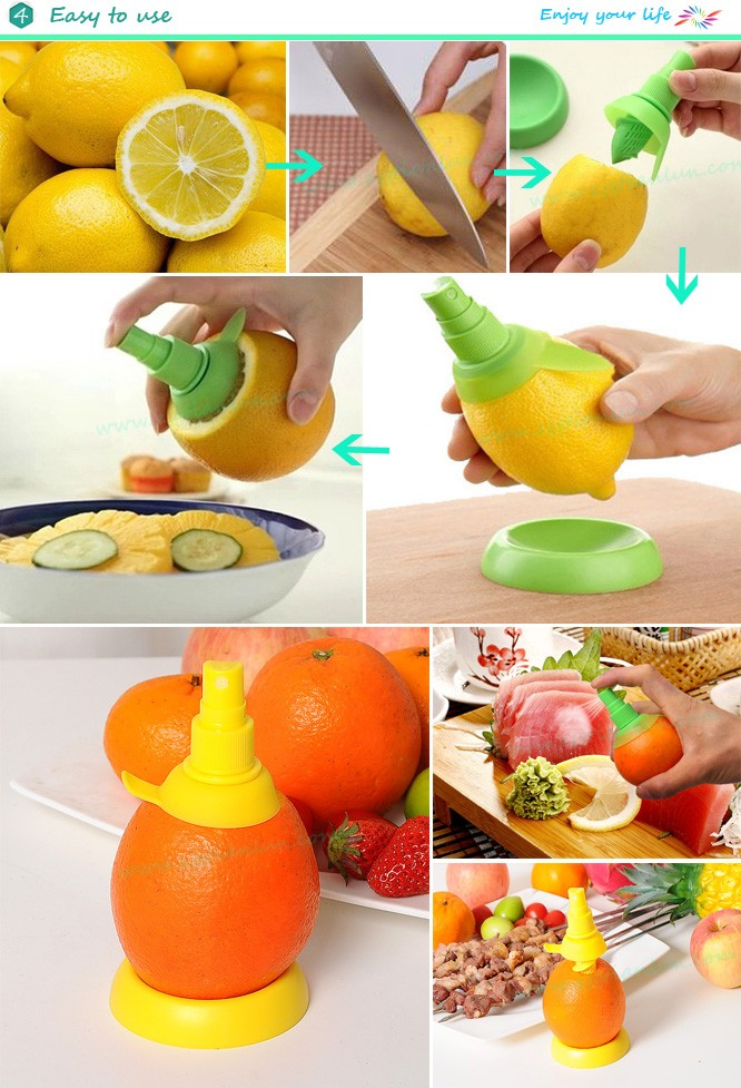 2pcs cuisine orange citron pulvérisateur jus extracteur juicer lemon fruit pulvérisation outil