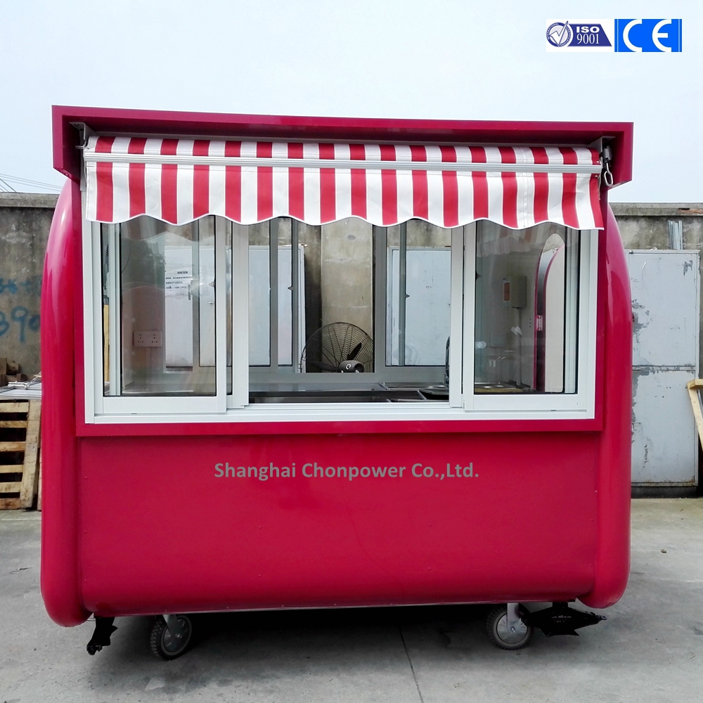 CP-A230165210 Hot Sell pink hot food carts hot dog ice cream cart design with streching canopy