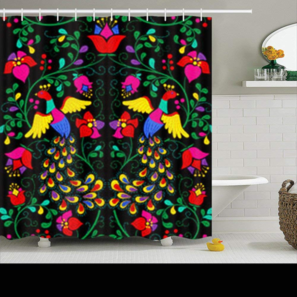 Get Quotations Shower Curtains Custom Decorative Seamless Pattern Mexican Style Peacock Design Waterproof Polyester Fabric Home Bathroom Decor