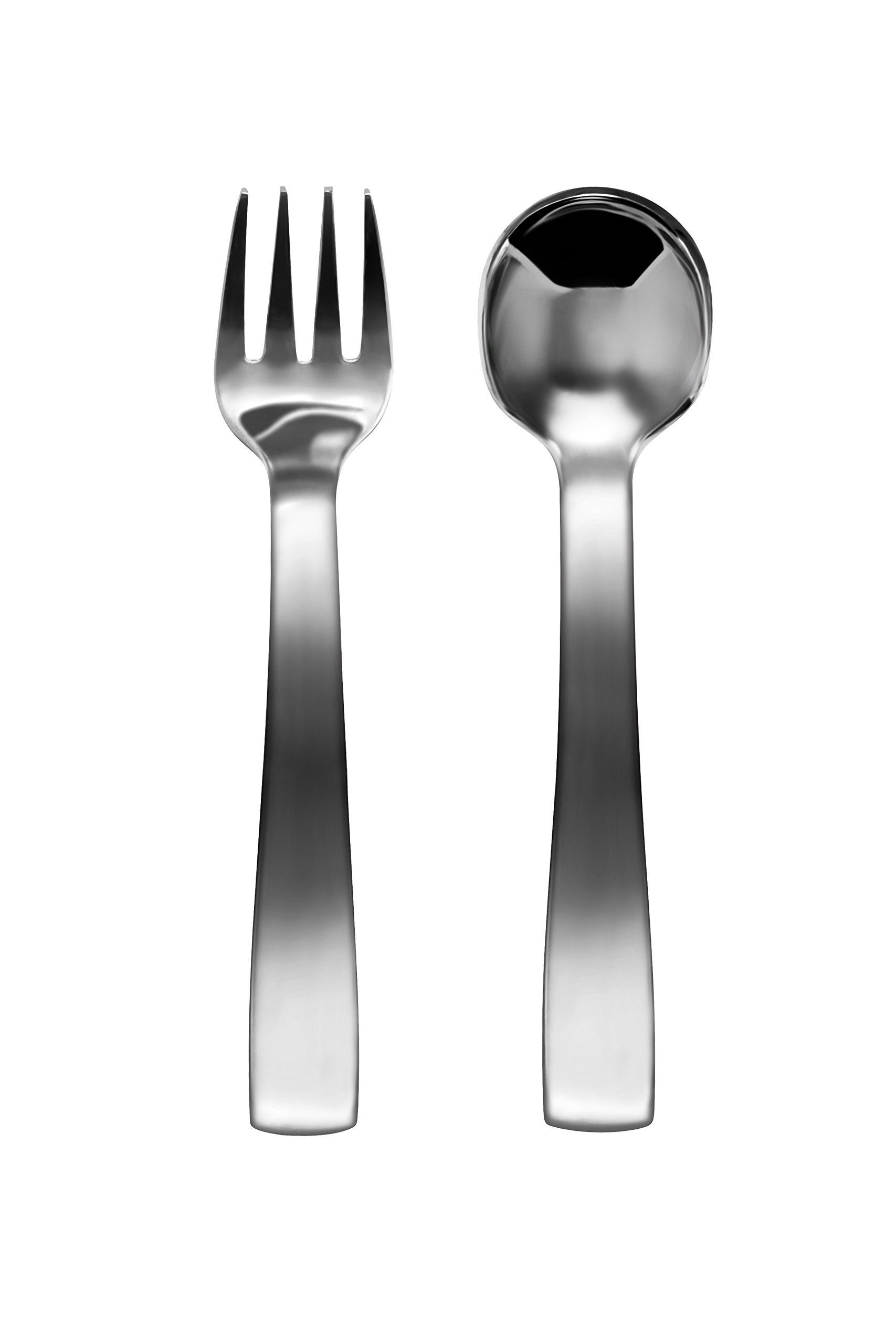 Cutelery Children's Stainless Steel Silverware Toddler (12 months to 3 yrs old) set: Spoon and Fork