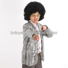 Men sequin costume for party Micheal Jackshon singing shinny suit and wig