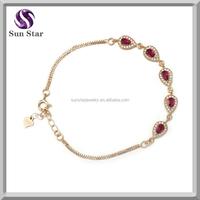 925 sterling silver real garnet gold plate water drop bali style bracelet
