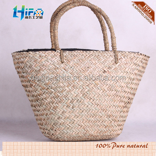 100% Handmade Drinking Straw Shopping Basket Beach Bag - Buy ...