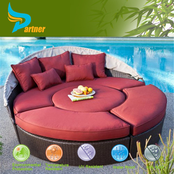 Rattan Wicker Round Sun Lounger With Canopy Patio Furniture Factory ...