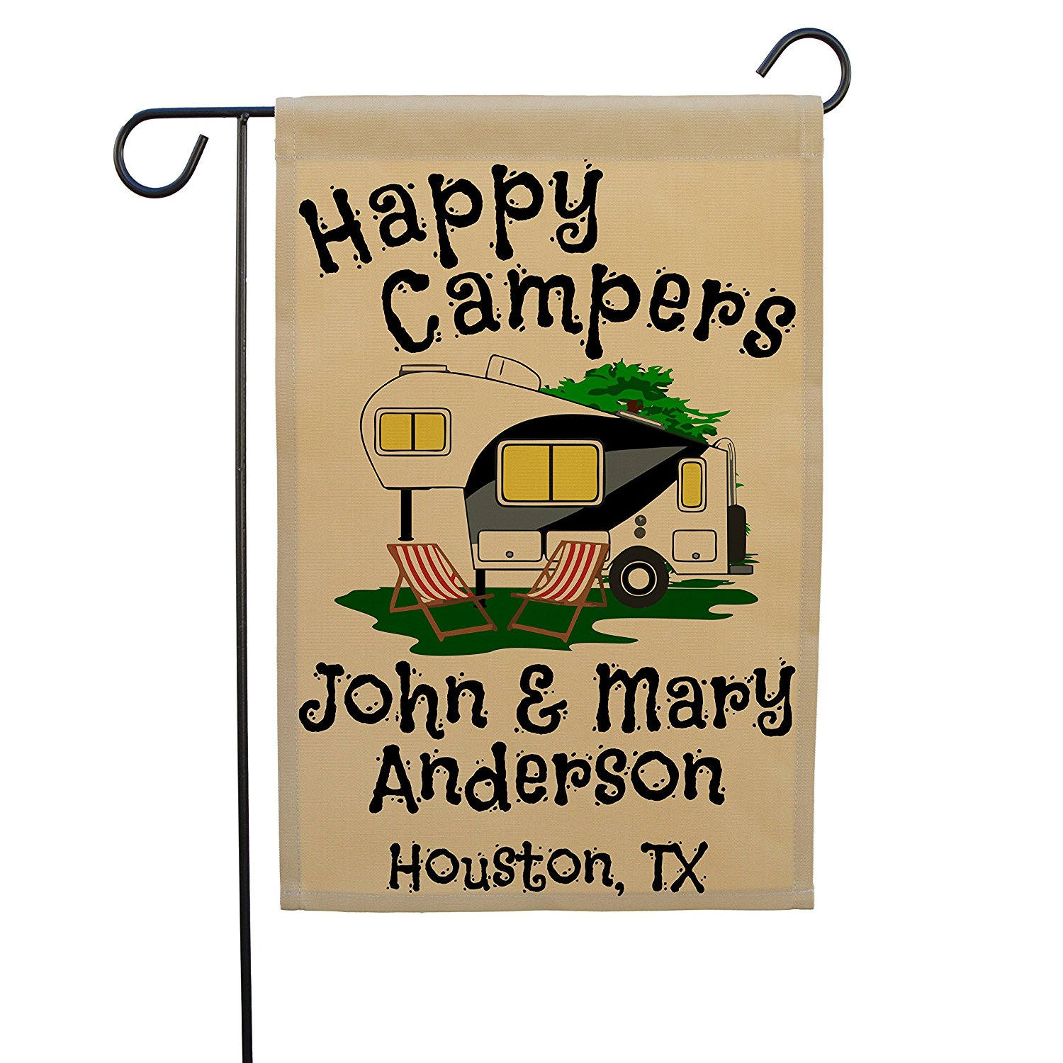 Happy Campers 5th Wheel Personalized Campsite Sign, Garden Flag, Customize Your Way (Black/Gray)