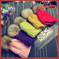 Womens Girls Winter Fur Hat Real Large Raccoon Fur Pom Pom Beanie Winter Hats