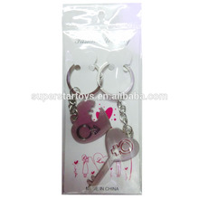 3150128-37 Lovers ring Couples keychain 1 Pair Heart and Key Love Keyrings Key Chains