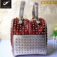 2015 New Design Fashion women's handbag vintage Rivet with Acrylic diamond for handbag women shoulder bag messenger bags