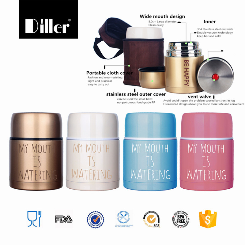 high quality insulated Protective bag Double Walled Insulated food soup storage container lunch box vacuum flask