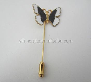 5ba1bae49bc Butterfly Design Stick Lapel Hat Pin Brooch Black Silver Enamel Gold Tone  Metal