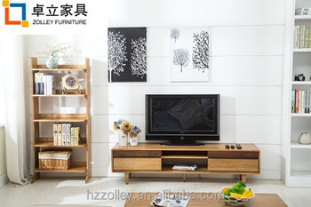 Charmant European Stylish Wooden Long TV Table With Drawers